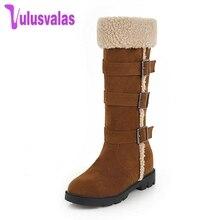 Купить с кэшбэком Vulusvalas 4 Color Women Flats Snow Boots New Fashion Buckle Keep Warm Shoes Women Winter Plush Fur Half Short Boots Size 33-43