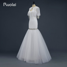 Real 2016 Sexy Sweetheart Tulle Ruffles Mermaid Wedding Dress with Wraps Beaded Wedding Coat Bridal Gown Vestido de Novia WED2
