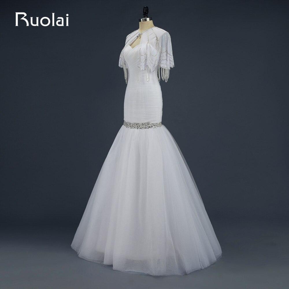 Real 2019 Sexy Sweetheart Tulle Ruffles Mermaid Wedding Dress with Wraps Beaded Wedding Coat Bridal Gown Vestido de Novia WED2
