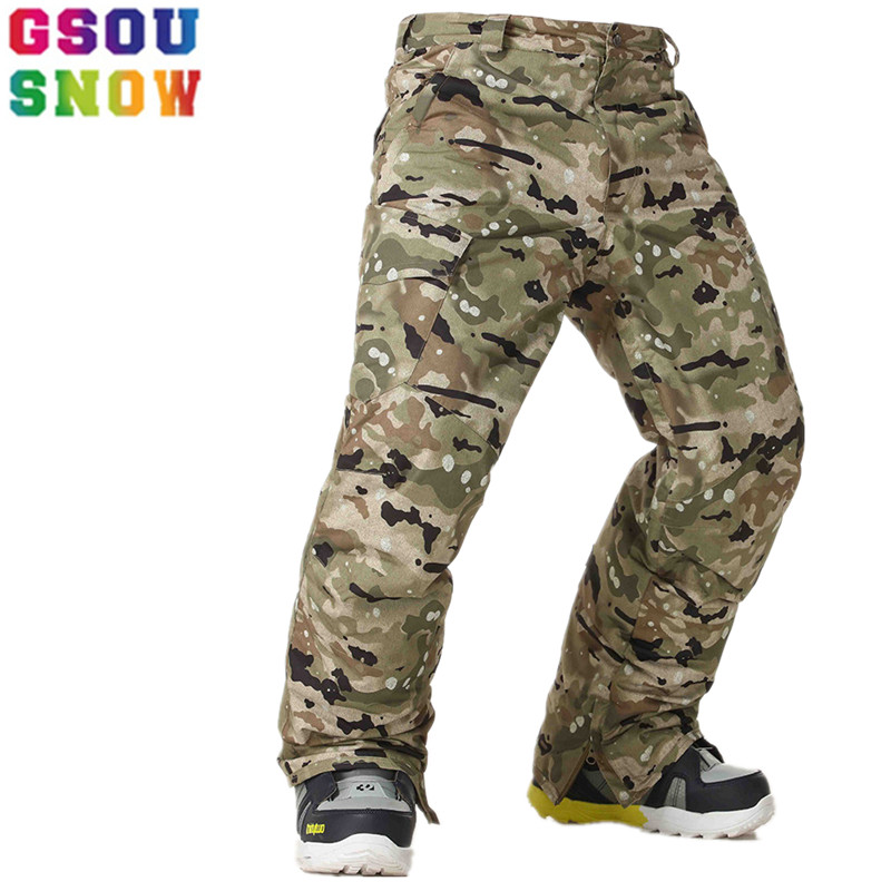 GSOU SNOW Ski Pants Men Winter Snowboard Pants Waterproof Breathable Camouflage Ski Trousers Thicken Warm Windproof Snow Clothes free shipping the new 2017 gsou snow ski suit man windproof and waterproof breathable double plate warm winter ski clothes