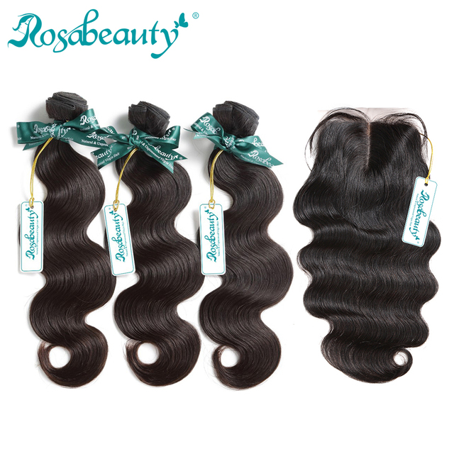 Rosabeauty Unprocessed Virgin Hair Bundles With Closure 3 Bundles Body Wave 100% Brazilian Human Hair Weaves Total 4Pcs/Lot