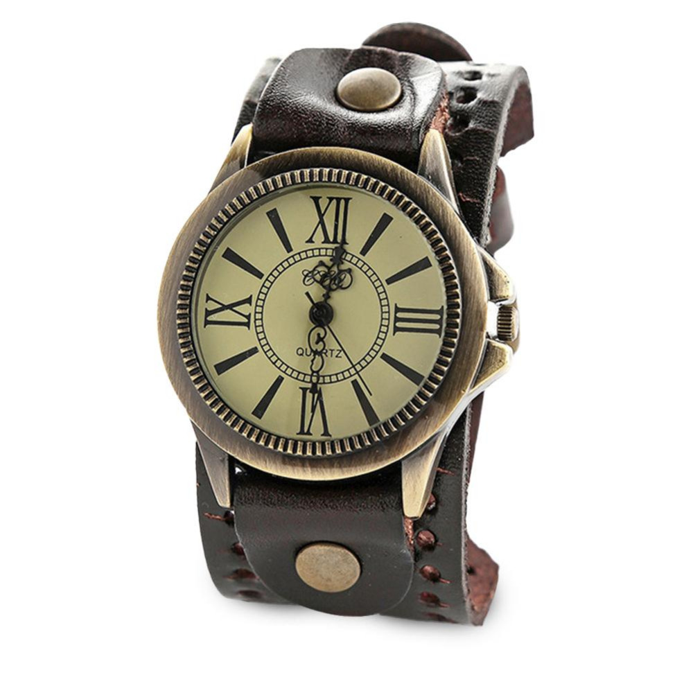 Luxury Men Watch Punk Rock Brown Big Wide Leather Cuff Bracelet WristWatch Retro Roman Scale Leather Band Strap Quartz Watch все цены