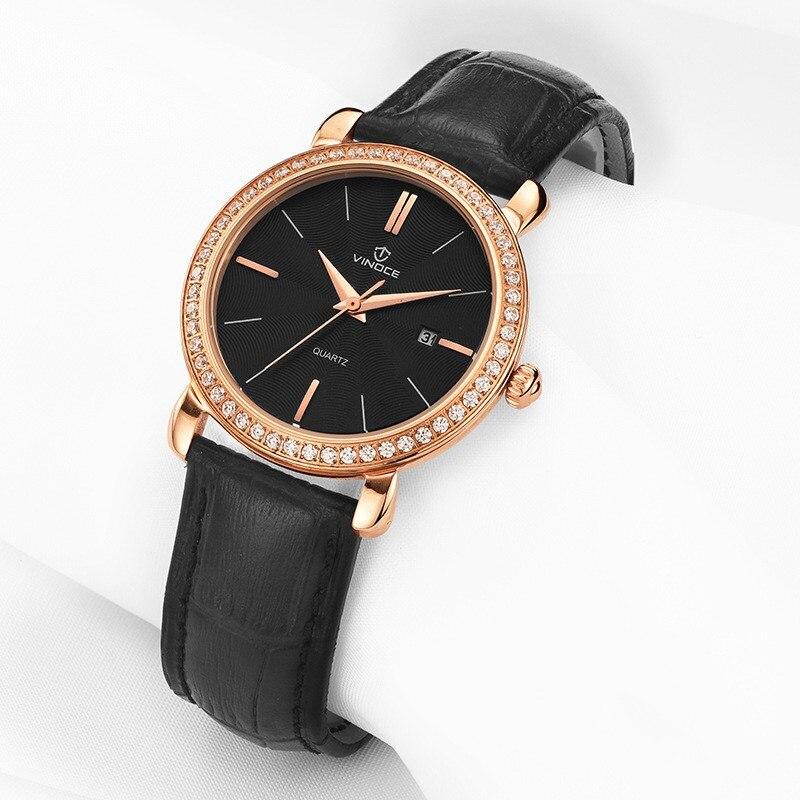 цена на VINOCE Luxury Brand Women Quartz Watch Relogio Feminino black Gold Bracelet Watch Lady Fashion Casual leather Wristwatches