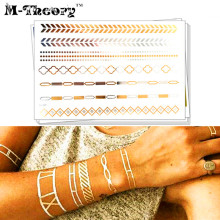 M-Theory Metallic Gold Temporary 3d Choker Flash Tattoos Body Art Hawaii Tatoos Sticker Henna Tatto Swimsuit Bikini Makeup Tools