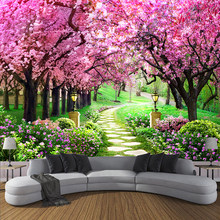 Custom 3D Photo Wallpaper Flower Romantic Cherry Blossom Tree Small Road Wall Mural Wallpapers For Living Room Bedroom De Parede(China)