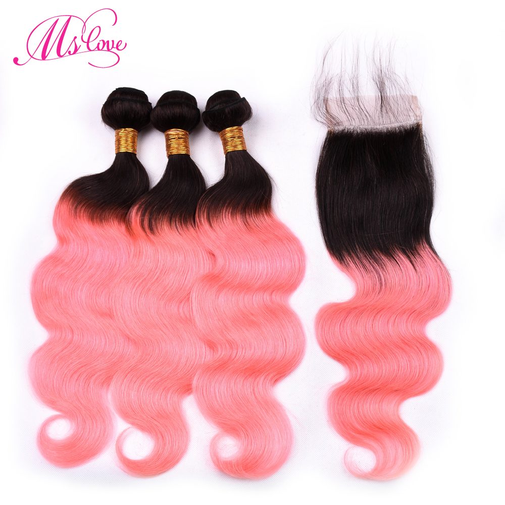 Ms Love Pre Colored T1b Rose Gold Pink Body Wave Brazilian Hair Bundles With Closure Remy Ombre Human Hair Bundles With Closure