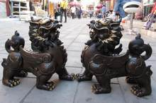 Royal Palace Bronze Copper Feng Shui Evil Foo Dog Lion brave troops Kirin Statue(China)