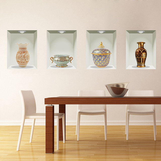 3D Pegatinas de Pared Salón Comedor Decoración de La Pared Pintura ...
