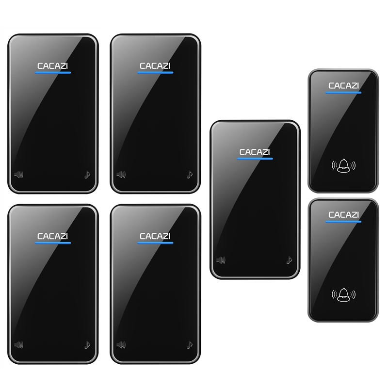 CACAZI waterproof wireless doorbell 2 transmitters+5 receivers 100-240V EU/US/UK plug door bell 300M remote 48 rings door chime 2 receivers 60 buzzers wireless restaurant buzzer caller table call calling button waiter pager system