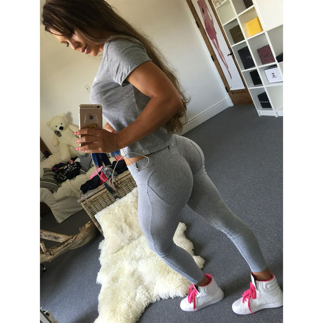 New Brand Low Waist Push Up Casual Harajuku Leggings Fitness Women Sexy Pants Bodycon Cotton Stretch Black Blue Grey Leggings