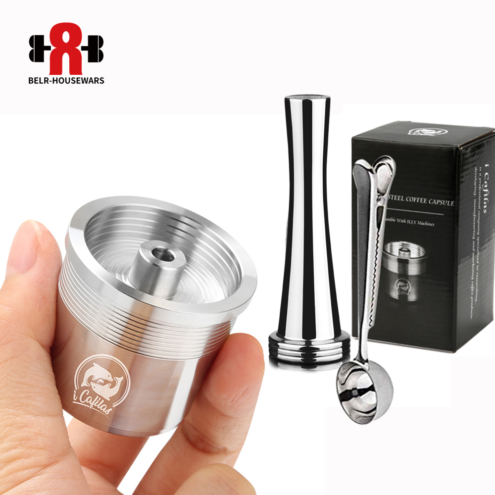 ICalifas STAINLESS STEEL Metal  Compatible For Illy Coffee Machine Maker Refillable Reusable Capsule Fit For Illy Espresso Cafe