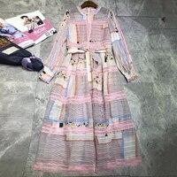 Весеннее Платье с принтом женское 2019 богемное Высокое качество Новые милые длинные платья осень Цветочный с круглым вырезом модное платье