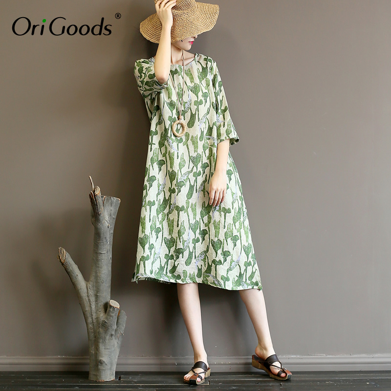 OriGoods Ramie imprimer été Robe femmes lâche décontracté genou longueur Robe Vintage o-cou 2019 nouvelle Robe Kawaii robes Robe A358