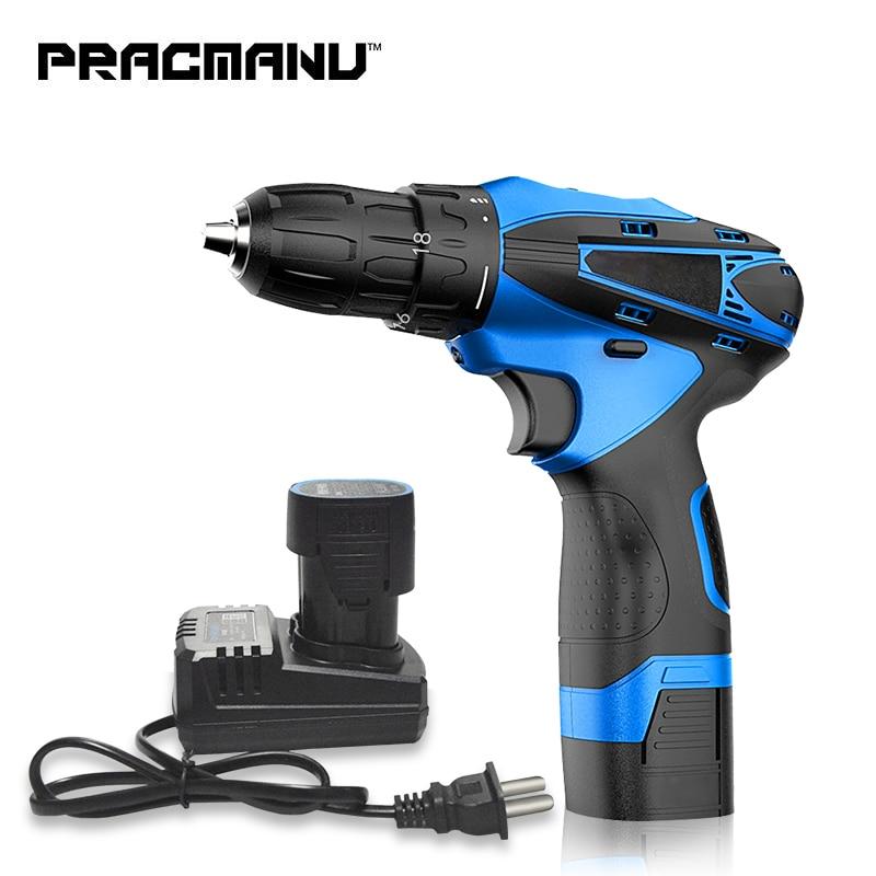 PRACMANU 16.8V Electric Drill Cordless Screwdriver Lithium Battery Cordless Screwdriver Power Tools Cordless Drill