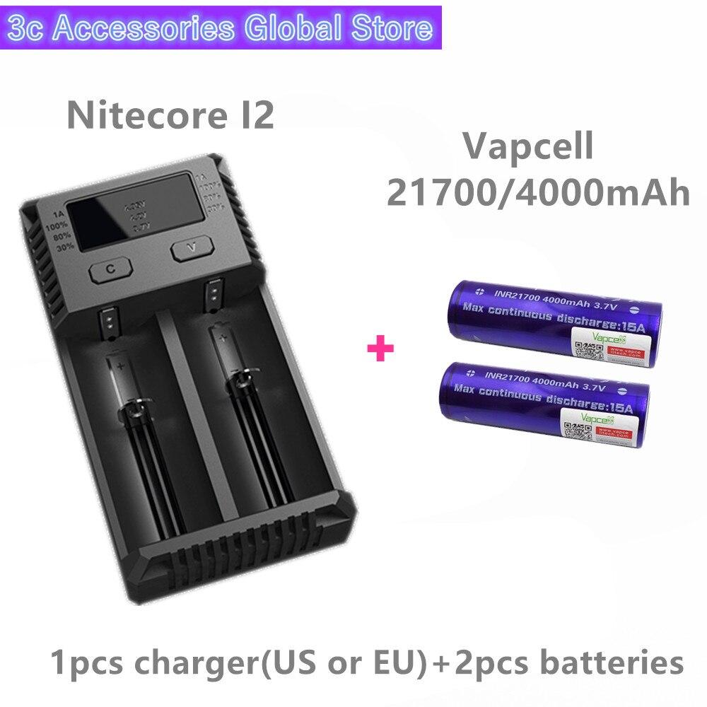 Vapcell 2 pièces INR 21700 4000 mah 15A li-ion batterie rechargeable avec Nitecore nouveau I2 Digi chargeur LCD Intelligent pour fumée E-CIG