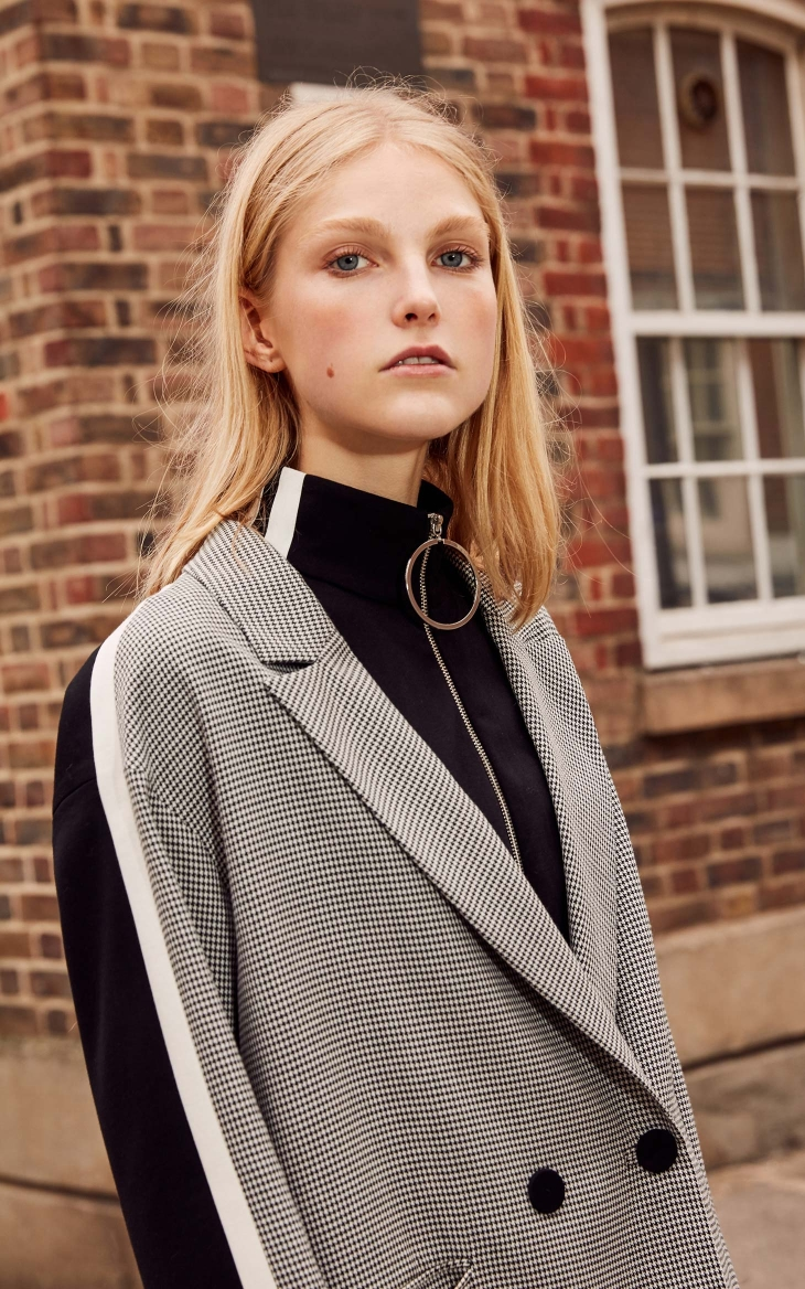 Vero Moda 19 New Stripe Splice Knitted Houndstooth Suit Jacket Plaid women Long Blazer 318308536 14