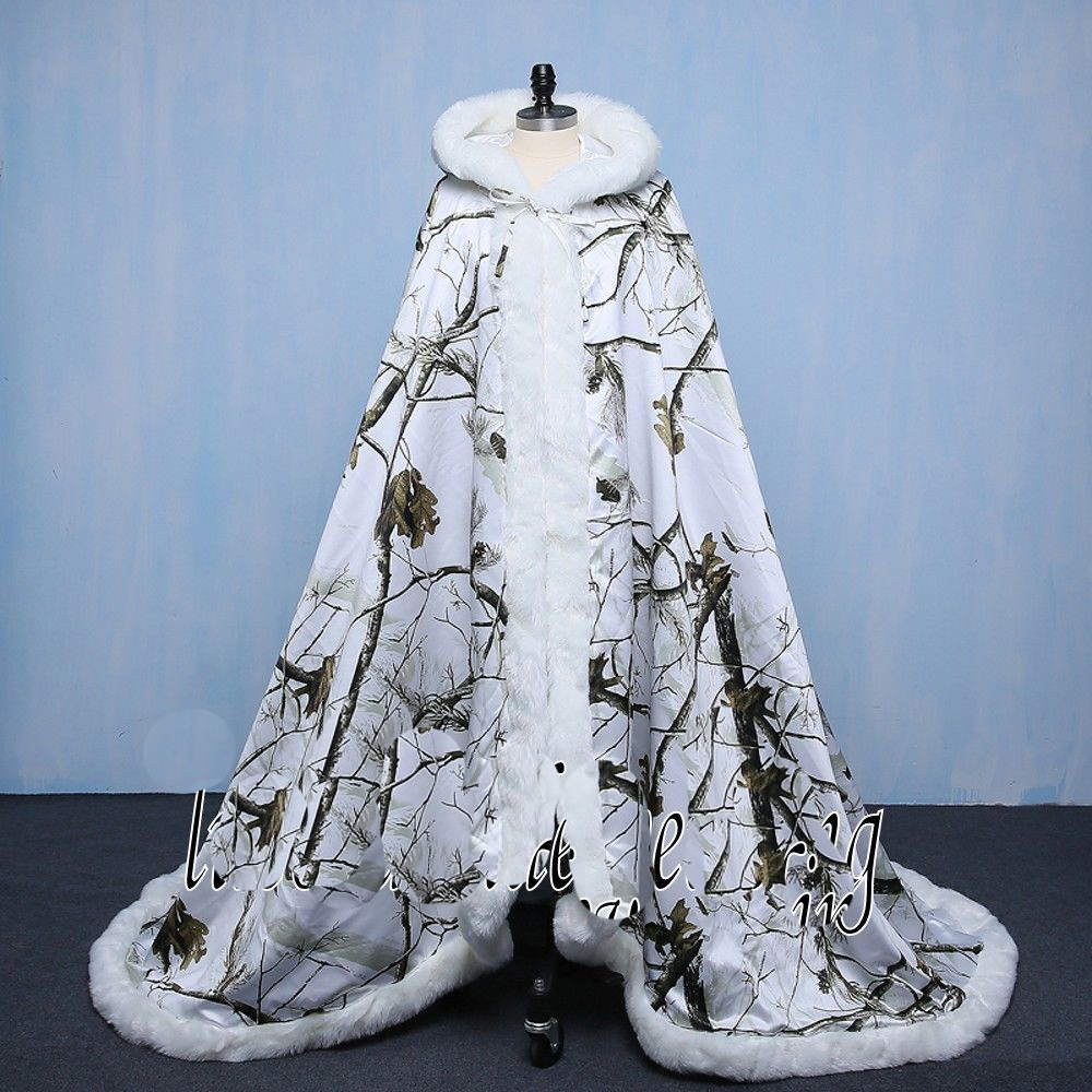White Camo Wedding Dresses Cloak Winter Warm Bridal Camo