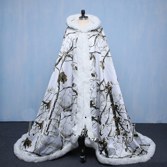 white camo Wedding dresses Cloak Winter Warm Bridal Camo Cloak Capes ...