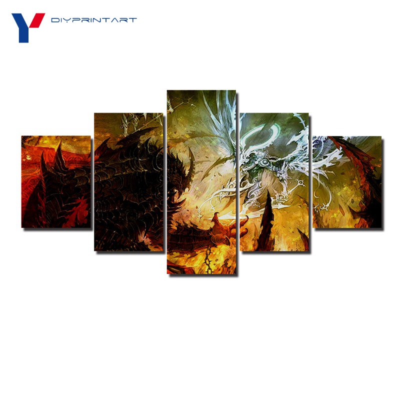 Angels and Demons War 5 Panels Wall Art Paintings for Living Room A0702