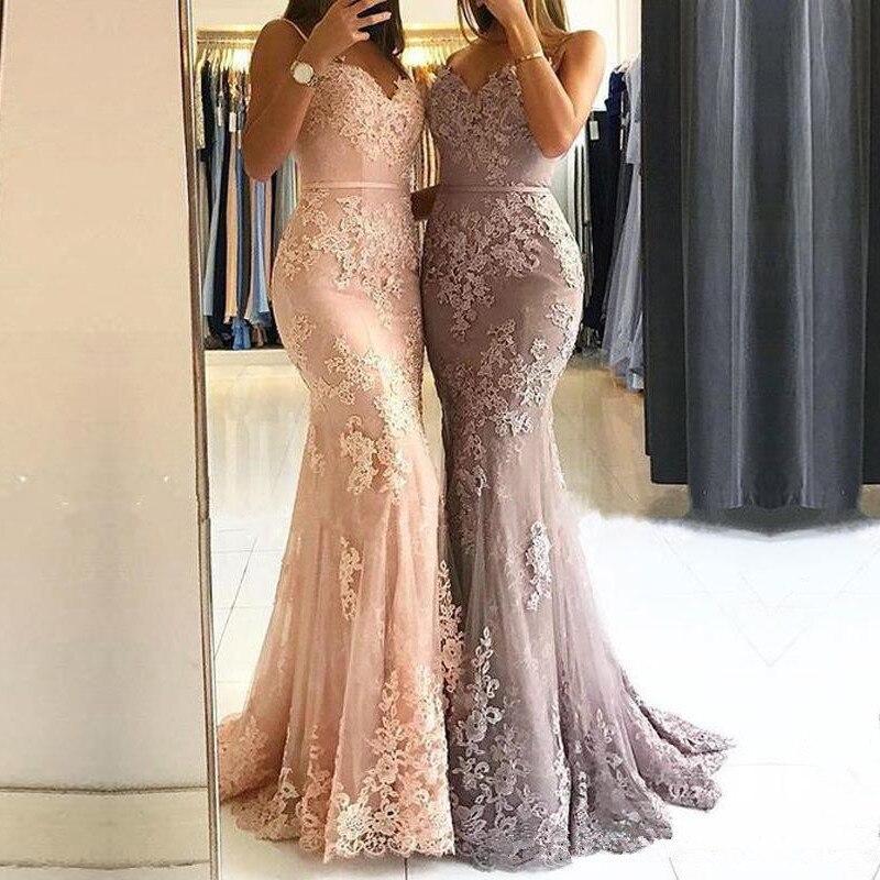 Epaules dénudées Robe longue sirène Robe De soirée 2019 dentelle Robe De soirée longue formelle Robe abiye gece elbisesi