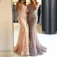Off the Shoulder Long Dress Mermaid Evening Dress 2019 Lace Robe De Soiree longue Formal Dress abiye gece elbisesi