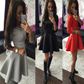 Elegant Women Mini A Line Dress 2016 Autumn Round neck fashion Vintage party Big Swing Midi Black Red Grey Sexy Dress S M L XL