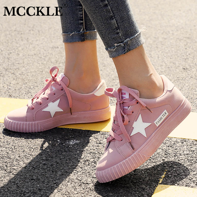 MCCKLE Autumn Women Sneaskers Plus Size Platform Flat Shoe Star Vulcanized Shoes Lace Up Female Casual Fashion Canvas Flats mcckle female flat shoes women cut outs autumn espadrilles fashion flock buckle strap sewing flats casual solid footwear shoe
