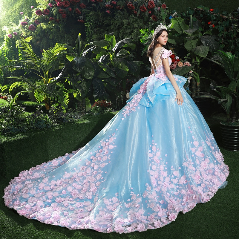 High-end Custom Wedding Dress Maternity Romantic Pregnant Women Noble Long Blue Elegant Bridal Evening Gown Pregnancy Clothes