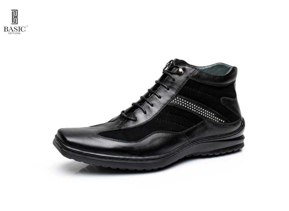 BASIC EDITIONS Men's Low Top Side Zipping Leather Boots Sneakers - B572-3
