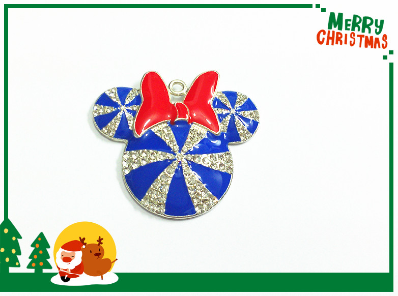 Image 4 - ( Choose Color First ) 41MM 10pcs/lot  Christmas Minnie With Bow Rhinestone Pendants For Necklace-in Pendants from Jewelry & Accessories