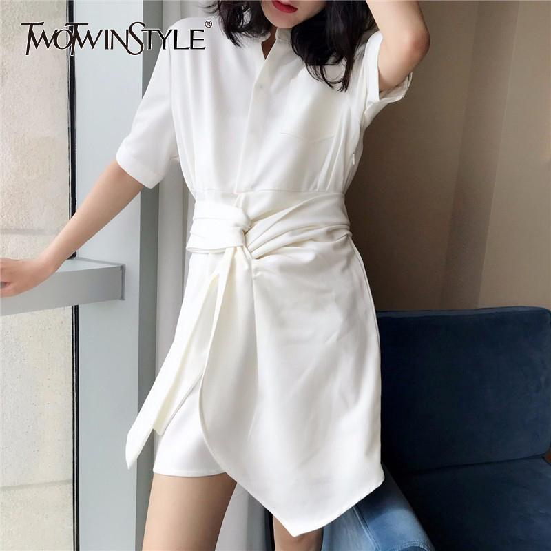 TWOTWINSTYLE Fashion White Shirt Dress Female Lace up Mini Dresses Women Casual Clothes Korean 2019 Summer