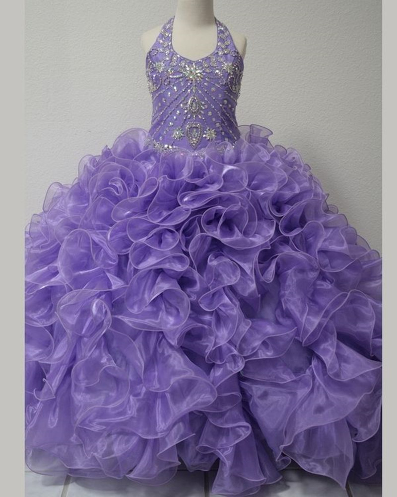 Kids Evening Gowns Off the Shoulder Halter Crystal Beaded Beauty Pageant Dress Flower Girls Dresses