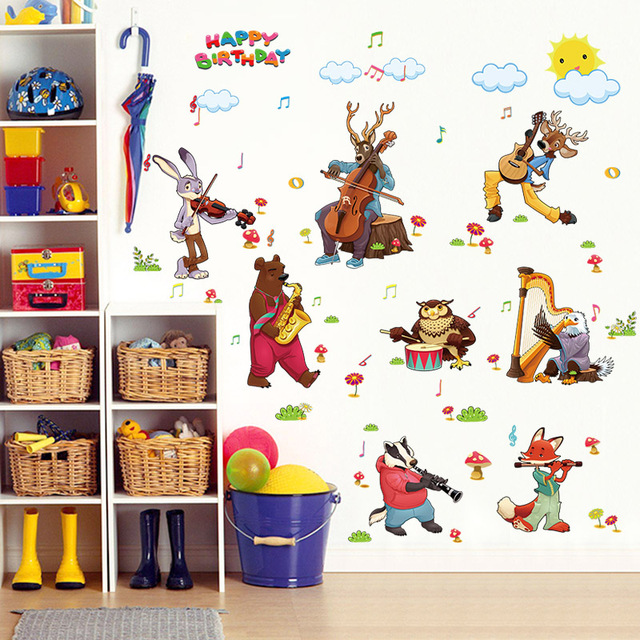 Cartoon jungle wild animal band wall stickers for kids rooms party birthday decoration 9058 home