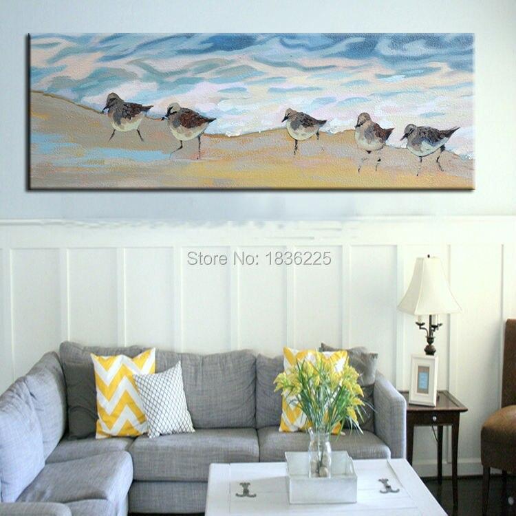 Art Живопись на холсте для продажи индивидуальные приняты ручной разрисуй птиц на пляже настенная живопись для украшения дома стены