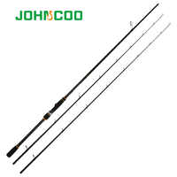 Johncoo NEW 2.4m Spinning Fishing Rod Extra-Fast Action M MH 2Tips Carbon Rod Test 10-40g Sensitive Fishing pole Fishing Tackle
