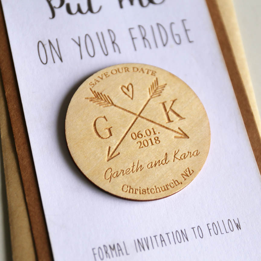 Wedding Gifts For Invitees: Arrow Save The Date Magnet, Custom Engraved Wooden Save
