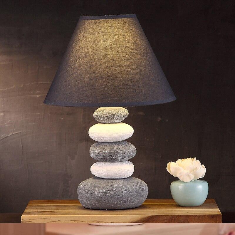 The Bedroom Bedside grey Lamp Of American Modern Minimalist Fashion Creative Personality Ceramic Jane Warm Study Lamps N1325
