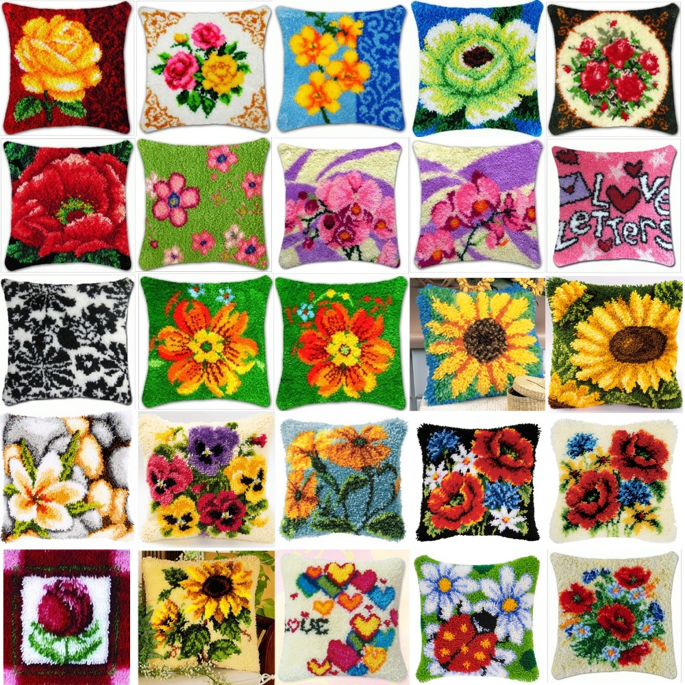 DIY Needlework Kit Acrylic Yarn Embroidery Pillow latch hook Canvas Cushion Front Cross Stitch Pillowcase flowers style