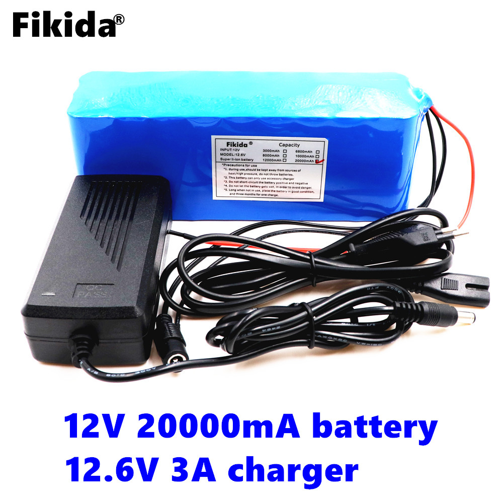 Fikida 100% original 18650 battery pack 12V 20ah 18650 lithium battery protection board 12v 20000mAh capacity +12.6 v 3A charger стоимость