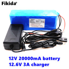 Fikida 100% original 18650 v 20ah bateria 12 12 placa de proteção da bateria de lítio 18650 v 20000 mah capacidade + 12.6 v carregador 3A