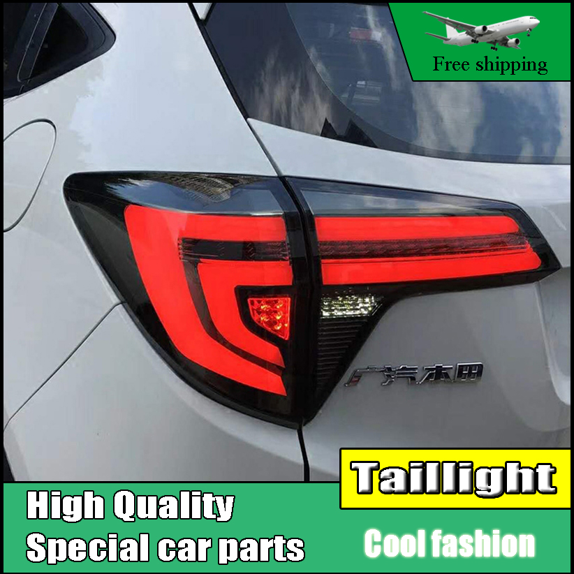 Car Styling Dynamic Turn Signal Tail Lights For Honda HRV HR-V Vezel 2015 2016 Taillight LED Tail Light Rear Lamp Drive+Brake abs chrome glass switch sequins for 2015 2016 hrv vezel car styling accessories
