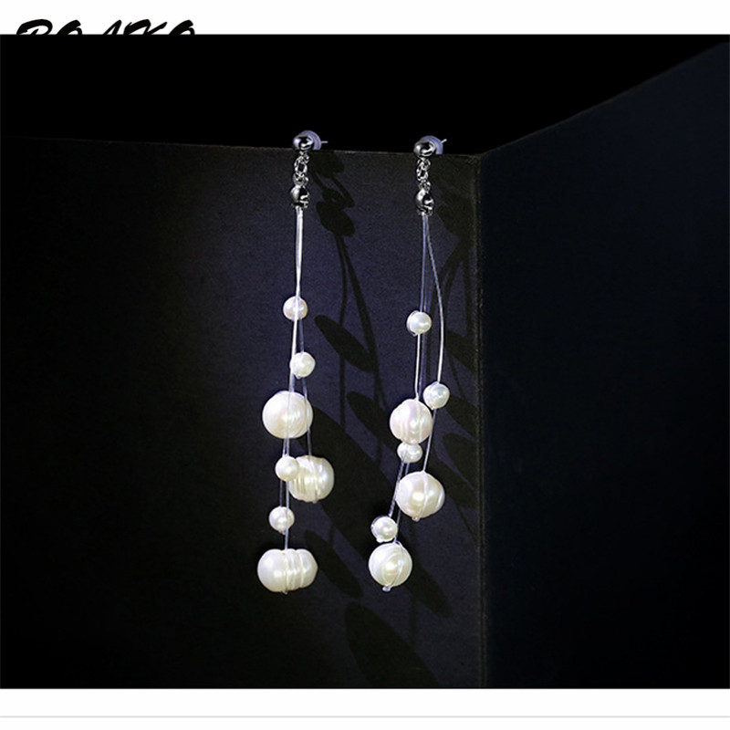 White Natural Freshwater Baroque Pearl Earrings 925 Sterling Silver Earrings for Women Long Tassel Drop Dangle Earrings Brincos in Drop Earrings from Jewelry Accessories