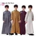По уходу за детьми Мальчики Саудовской Стиль Тобе Thoub Robe Daffah Dishdasha Исламская Арабский Кафтан