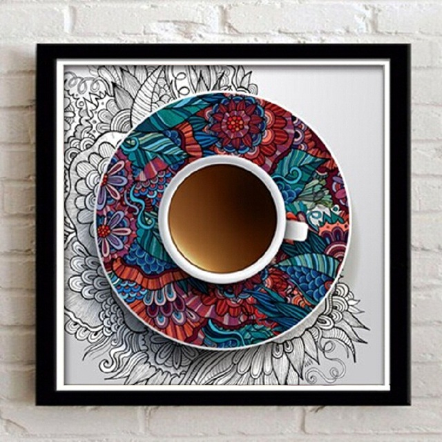 Art Paintings With Black Frame modern coffee cup Pictures Home Decor ...