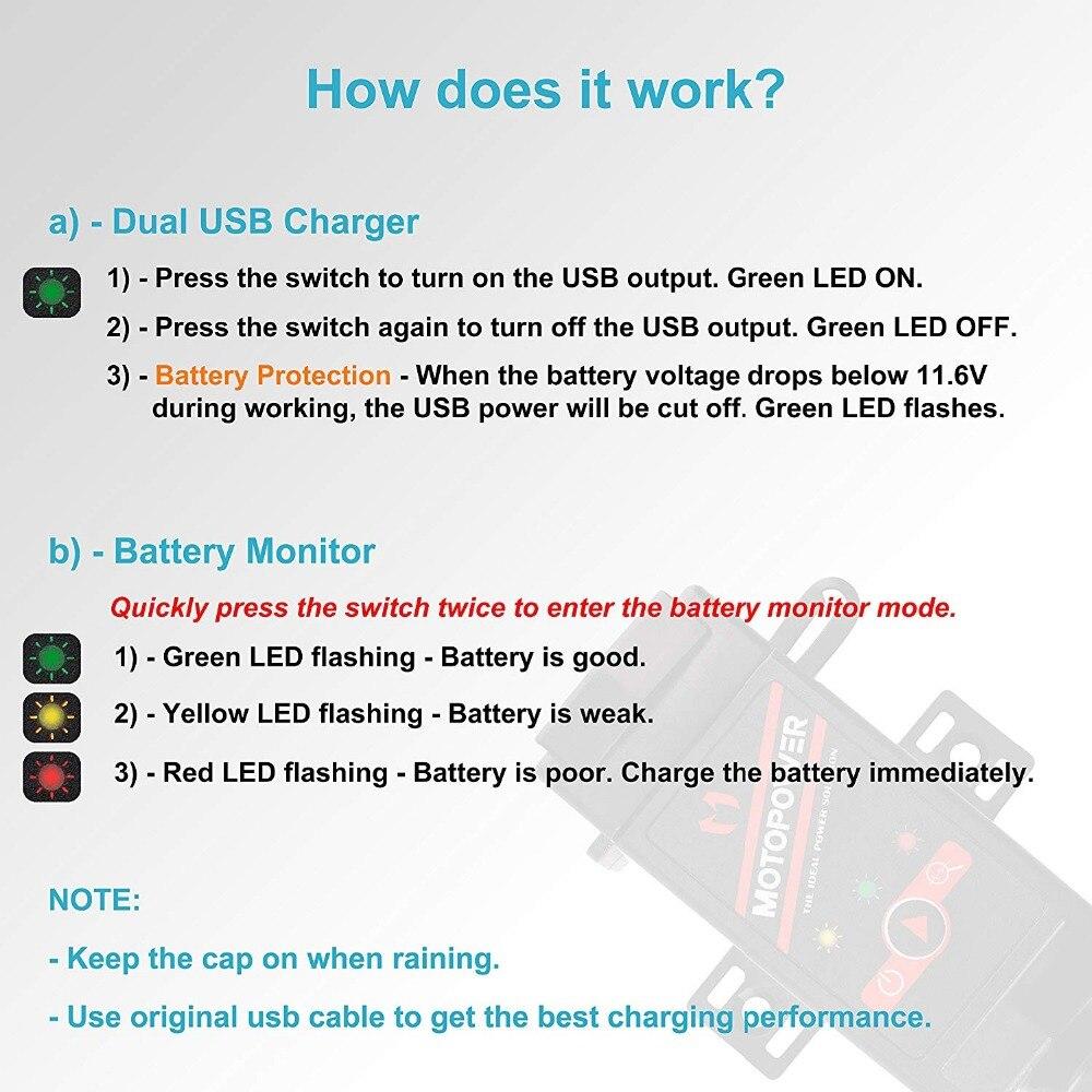 Motopower Mp0608 31amp Motorcycle Dual Usb Charger Sae To Flashing Led Battery Status Indicator 1 2 3 4