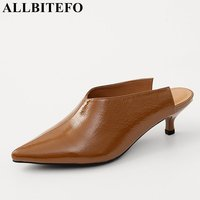 ALLBITEFO 2018 New Summer Patent Leather Pointed Toe Medium Heel Women Sandals High Quality Office Ladies