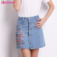 2017 Summer Fashion Floral Embroidery Denim Skirt Womens High Waist Jean Skirt Anti Exposure Button Up