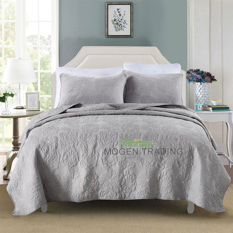 Chausub 100 Cotton Quilt Set Soft Embroidery Bed Cover