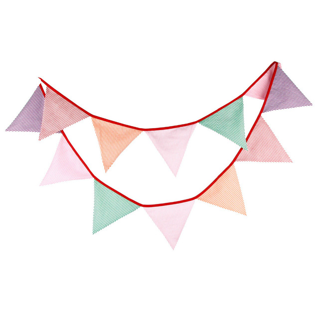 1pcs 3.2M Multicolor Vertical Stripe Cotton Fabric Bunting Banners ...