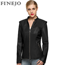 FINEJO Women Leather Jacket Cool Short Faux Black Brown Coffee Zippers Ladies Silm Long Sleeve Autumn Winter Motorcycle Coat